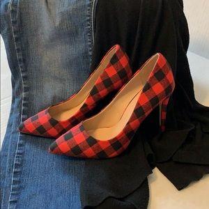 Mix No. 6 Buffalo check plaid heels.